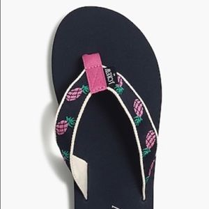 J Crew Pineapple Flip Flops - NEW WITH TAGS